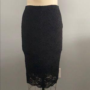 Vince Camuto Black Lace Pencil Skirt